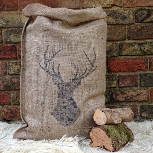 Stag Sack - a stunning Christmas Sack with a stag design available in large and medium.