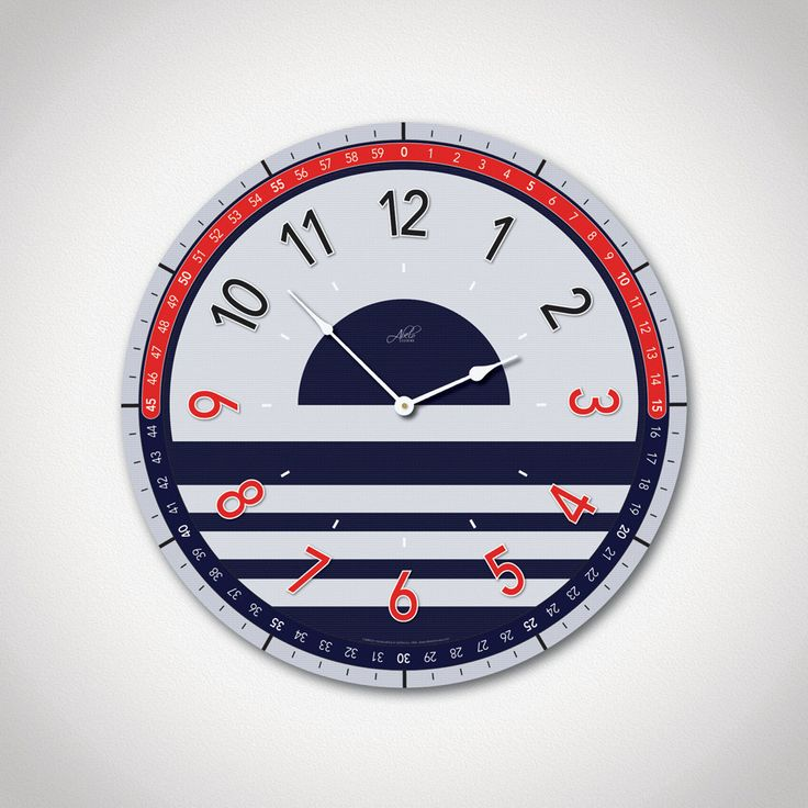 the marina 14in large modern wall clock in navy blue red u0026 gray nautical