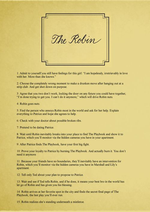 Step 16, Hope she says yes. How I met your mother. Robin and Barney :)