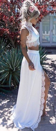 Two Piece High Neck Sweep Train White Chiffon Prom Dress with Lace Split