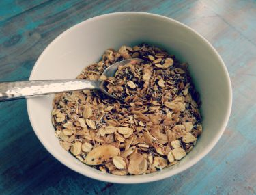 sugar free granola! add goodies like flax, chia and buckwheat, it gets healthy quick!