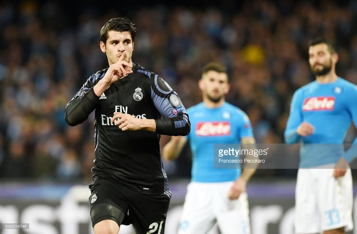 Alvaro Morata of Real Madrid celebrates after scoring goal 1-3 during the UEFA Champions League Round of 16 second leg match between SSC Napoli and Real Madrid CF at Stadio San Paolo on March 7, 2017 in Naples, Italy.