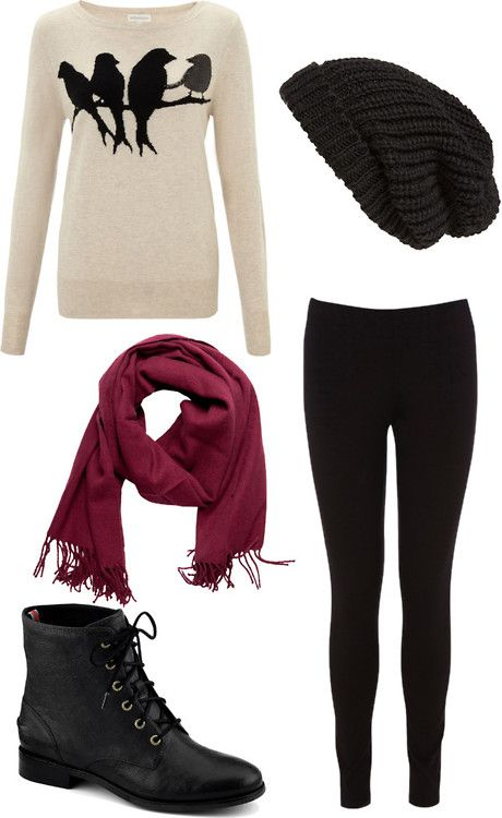 Lucy Inspired Christmas Dinner Outfit Rhian Bird Jumper Knit Beanie Maroon Scarf Black Leggings Black Boot