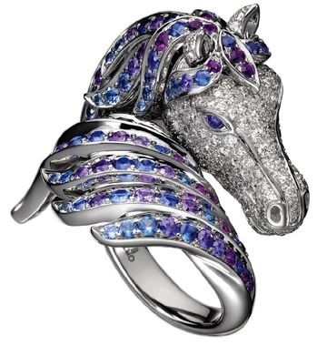 "Boucheron ""Pegasus"" Ring - white gold, blue and violet sapphires and white diamonds"