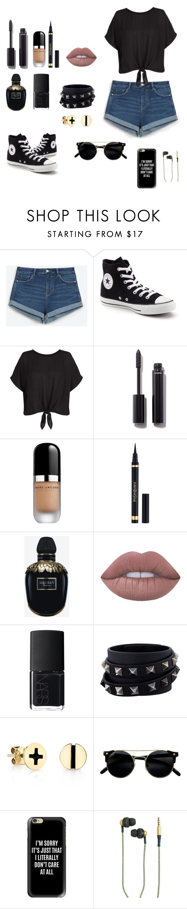 """Untitled #107"" by adinamihaelalupu ❤ liked on Polyvore featuring Zara, Converse, New Look, Chanel, Marc Jacobs, Yves Saint Laurent, Alexander McQueen, Lime Crime, NARS Cosmetics and Valentino"