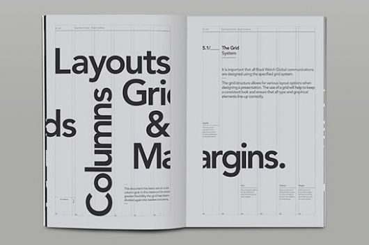 "Swiss Legacy by the initiative of Art Director Xavier Encinas. Being that this layout is about layouts, columns, grids, and margins, the design exposed these elements by showing grid lines and alignments. The most striking aspect of this design is how the ""a"" in Margins is broken and split by the gutter, reinforcing the idea of margins. White space is used as a part of the concept."