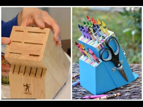 Turn an Old Knife Block into a DIY Crayon Holder | Thrift Diving Blog