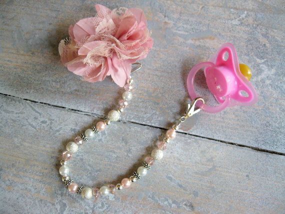 Pink and Pearl Beaded Pacifier Clip-Swarovski Crystals-Infant Pacifier Clips-Princess Pacifier Clip-Newborn Gift-Pacifier Holder on Etsy, $17.99