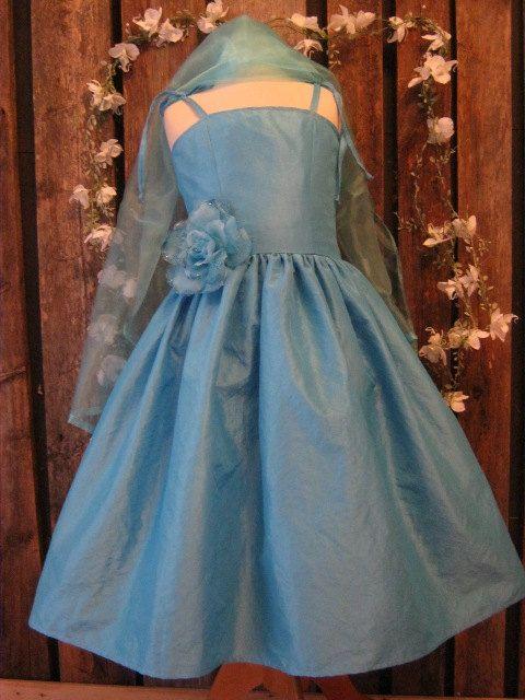Junior bridesmaid in turquoise taffeta teen girl strap for Wedding dresses for tweens