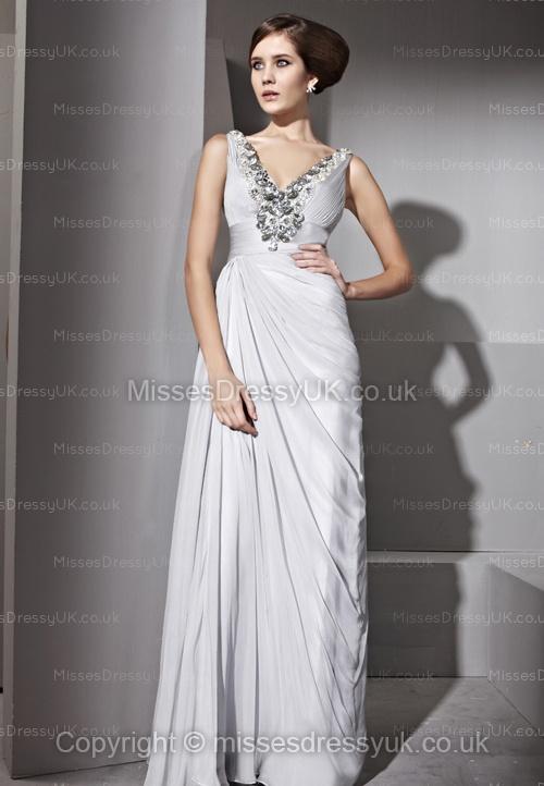 A-line V-neck Chiffon Floor-length Silver Rhinestone Evening Dress
