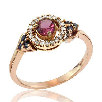 1950's Vintage Inspired 18k Gold Sparkling Gemstone Engagement Ring