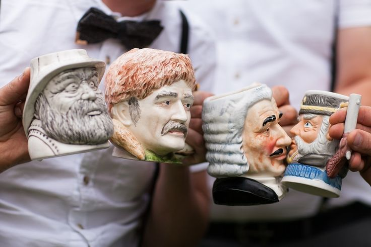 Ange & Marshall's awesome Toby Jugs - love this idea for Groomsmen's gift - (and so did they!) @ Chateau Dore Winery