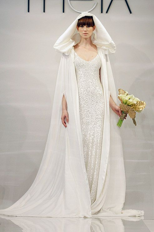 Theia fall 2014 capes wedding dresses and fall for Wedding dress with a cape
