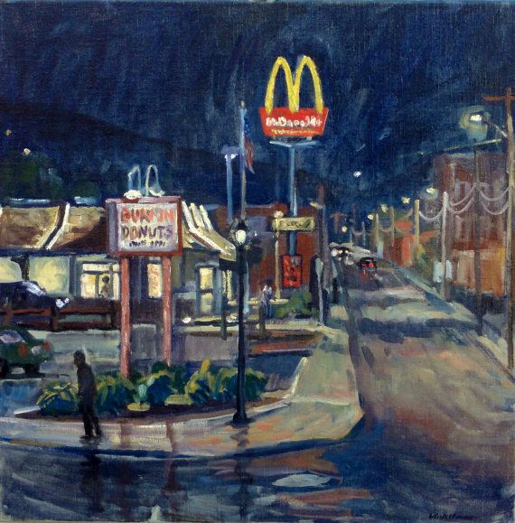 Reserved oil painting landscape night street macdonalds