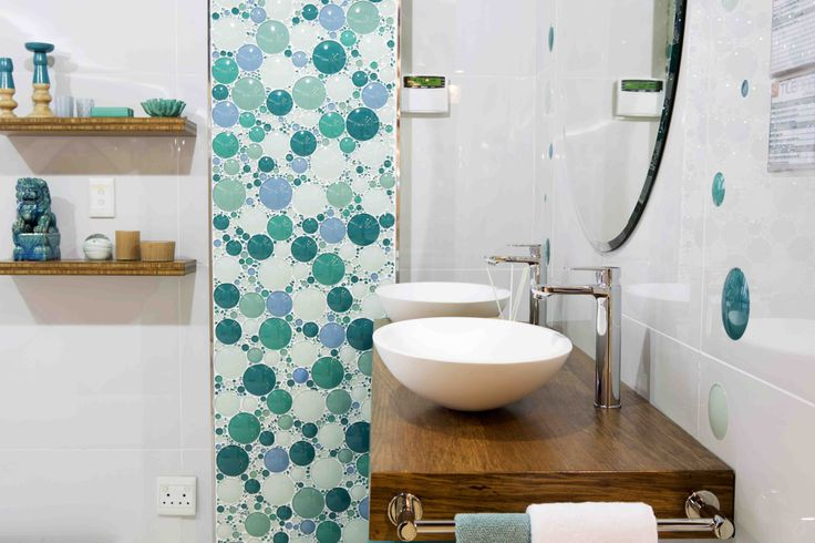 For a truly unique #bathroom design your own feature wall in #tiles and colours of your choice