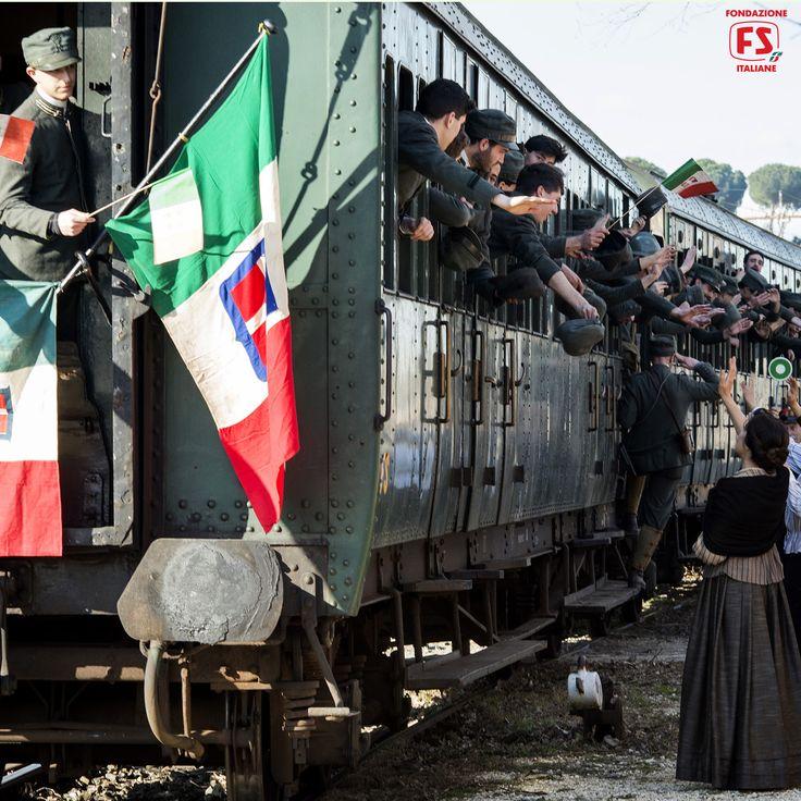 """Dal film """"Un viaggio di cento anni"""", di Pupi Avati, partenza delle truoppe italiane per il fronte duranet la Grande Guerra"""