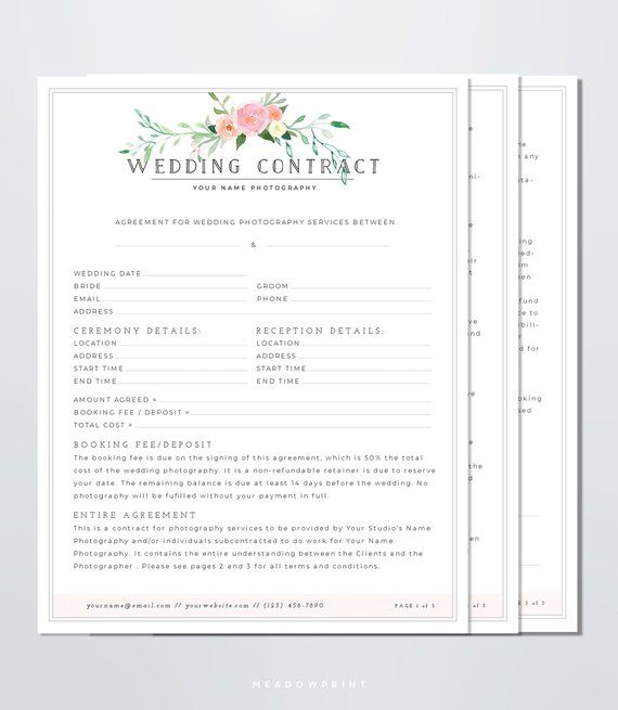Wedding Photography Contract Template Client Booking Form