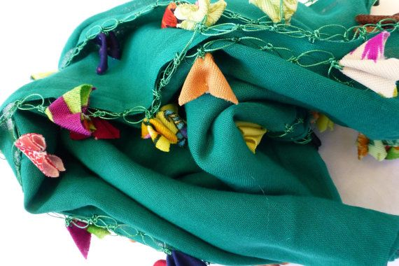 Boho Green Cotton Voile Square Scarf with by Pllowcoversetc