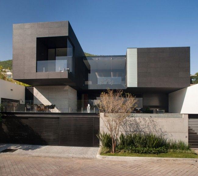 Facade Maison Design #6: Maison Contemporaine Avec Façade Béton Noir