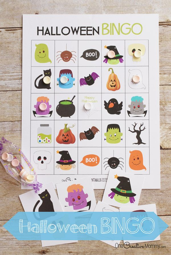 Free Halloween printables: Love these Halloween BINGO boards from One Creative Mommy. So fun, especially if you play with Smarties like in the photo!
