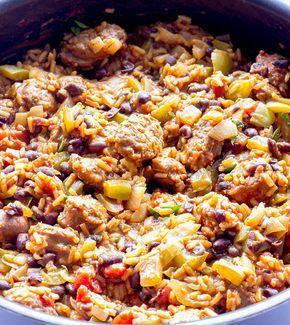 Sliced spicy chorizo sausage with Spanish seasoned rice, veggies, and black beans. (Did it--good)