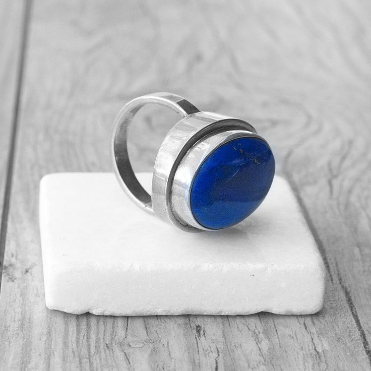 Natural Blue Lapis Lazuli Ring, Sterling Silver Statement Ring, Eclectic Oversize Big Ring, Navy Blue Chunky Ring, One of A Kind, Size 8 by SunSanJewelry on Etsy