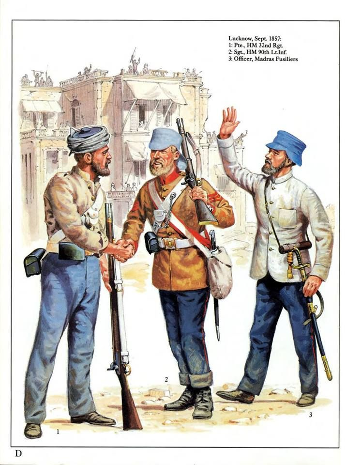 Lucknow,September 1857: 1:Pte.,HM 32nd Regt.2:Sgt.,HM 90th Lt.Inf.3:Officer,Madras Fusiliers.