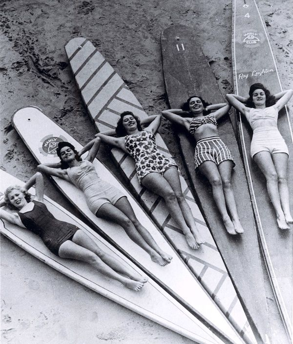 Surf sirens, Manly beach, New South Wales, 1938-46 | Australia | vintage female surfers | summer fun | pose | bikini babes | history | Sydney | surf culture | surfing girls | surfers | wave riders | salt | surfboard | sun | sand | sea | 1930's  1940's fashion |