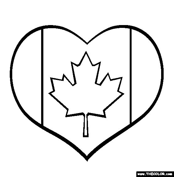 I Love Canada Coloring Page;  use this design to make a felt tree ornament or cotton pincushion