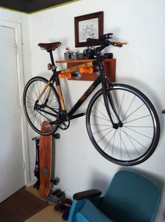 Custom wall mount bike rack by ItsMannMade on Etsy