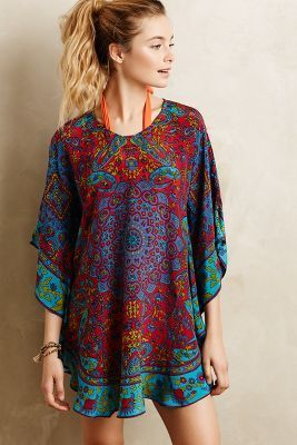 Is it bad that i would probably belt this and wear as a dress?   Tolani Narissa Silk Caftan #anthrofave #anthropologie