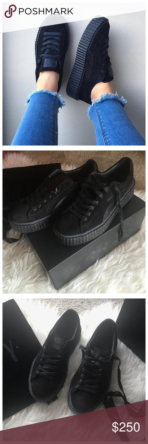 "Rihanna x Fenty Puma Black Satin Suede Creepers ⭐️ FOR SALE ⭐️ Item: Rihanna x Fenty Puma Black Satin Creepers Details: Brand new in box, never worn. Size 8.5 in women's. Suede upper, 1.5"" gum sole. Comes with regular waxed laces & wide satin laces, velvet Fenty dust bag & original Puma box. - NO TRADES OR HOLDS - No lowballing or ""lowest"" - please use the offer button - Please do not comment unless interested - All purchases come with free stickers & jewelry while supplies last! Puma Shoes…"