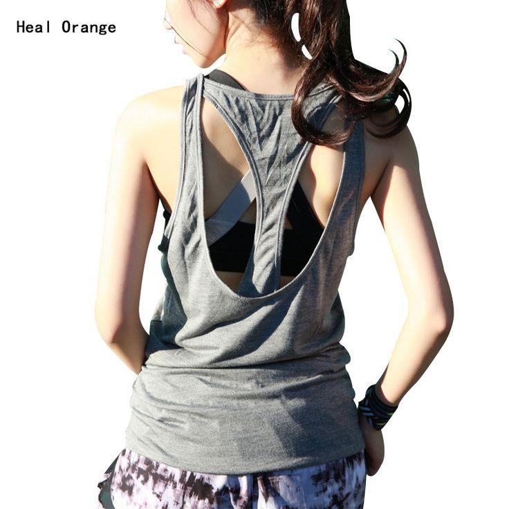 Heal orange女性yogaシャツドライフィット女性ベスト用ジムyogaタンクトップス用ランニングフィットネスジムスポーツのトップス服