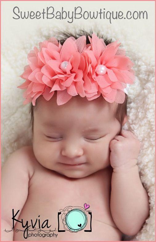 OMG the MOST ADORABLE baby headbands and newborn headbands! www.sweetbabybowtique.com!  The Sophia Flower Coral Elastic Headband