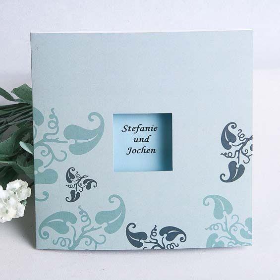 Himmel und Liebe sind pur hellblau wie unsere Liebe   Modern Einladungenskarten Hochzeit  OPA007