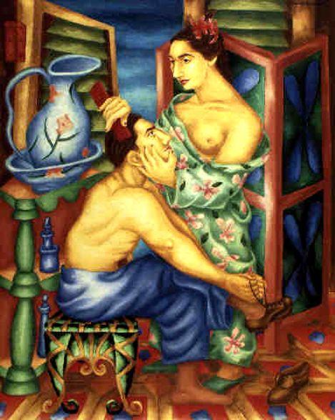 Mujer peinando al amante by Cundo Bermúdez
