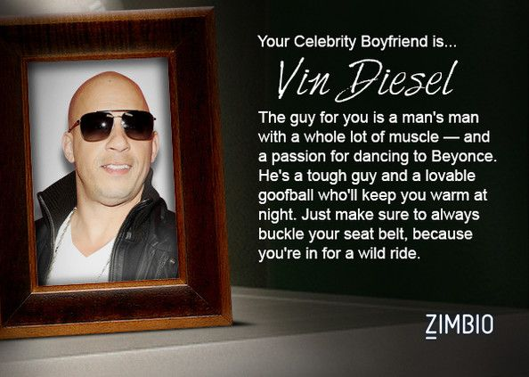 I took Zimbio's celebrity boyfriend quiz and my true love is Vin Diesel! Who's yours?