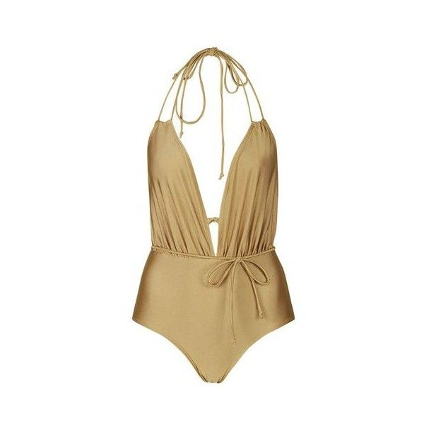 Jagger Swimsuit by Motel ($56) ❤ liked on Polyvore featuring swimwear, one-piece swimsuits, gold, strappy swimsuit, topshop swimwear, strappy bathing suit, topshop and swimsuit swimwear