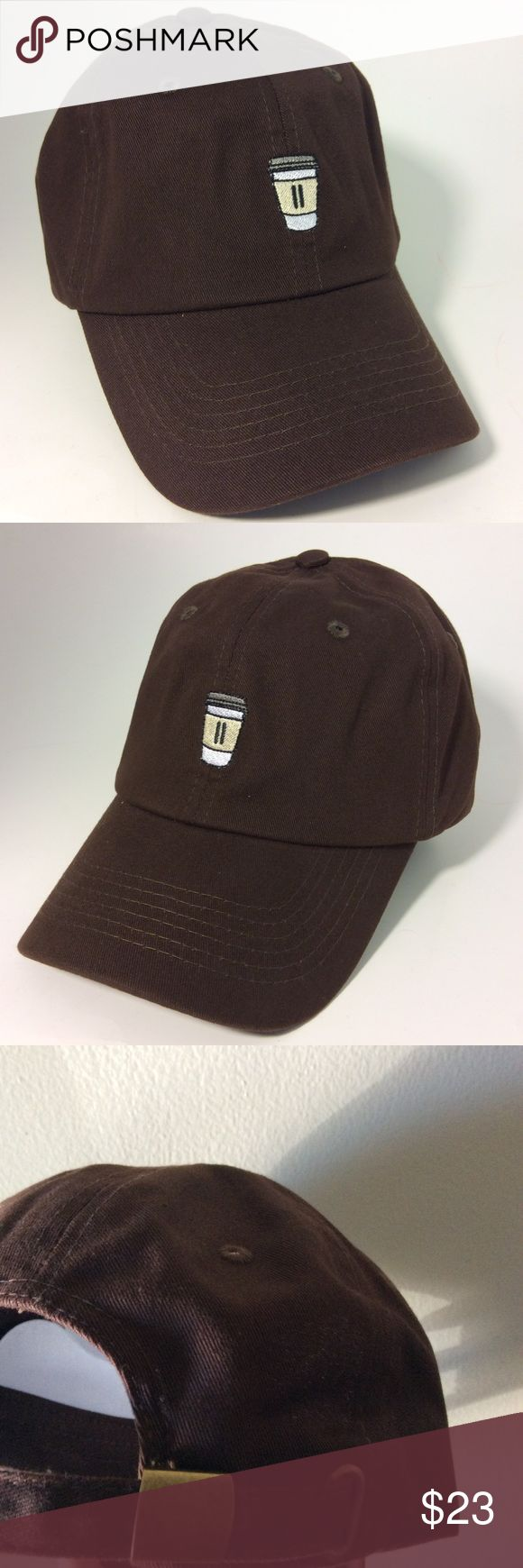 Coffee Cup Dad Hat NWT Brown, adjustable hat with tuck pocket NEW UNISEX___Ignore tags: huf, weed, marijuana, kush, obey, stussy, dope, trill, Blvck, boy london, paris, joggers,  trap style, rave, rare, huf, blvck fashion, trill, pipe, dabber, glass, sad, me, goth, goth girl, woes, the six, 6ix, ovo, blvck, Brooklyn, London, pikachu, 6 God, glitter, naps, mobb, asap, long style, Ovo, snapback, cap Accessories Hats