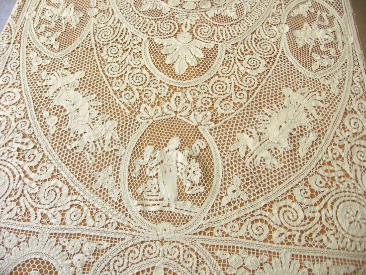 Cherubs At A Feast RARE Antique Italian Figural Bobbin Lace Tablecloth  66x114 | EBay
