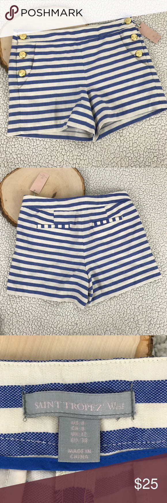 NEW NWT PIn Up Navy Nautical Shorts Blue White BRAND        :St Tropez West  SIZE     :Women's 8 STYLE     :Shorts COLOR     :White - Blue MATERIAL     :80% Polyester 15% Cotton 5% Linen  MEASUREMENTS :Waist 17 Inseam 4 Condition    :NEW NWT  Inventory    :R71 Saint Tropez West Shorts