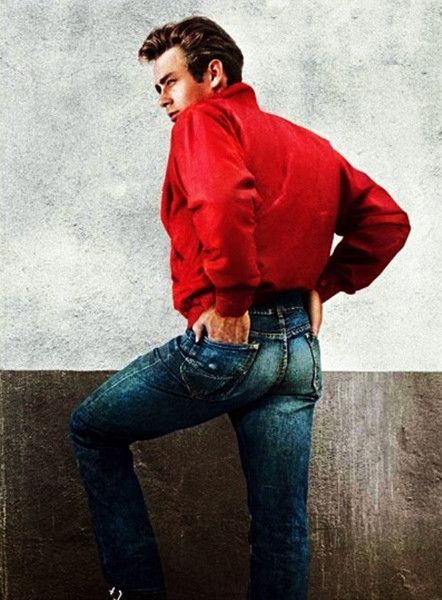 "James Dean, #red zip-up golf jacket, ""Rebel Without a Cause"", 1956"