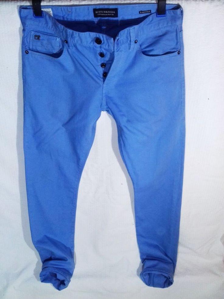 Men's Turquoise Scotch And Soda Ralston Jeans 30/34 skinny leg #ScotchSoda #SlimSkinny