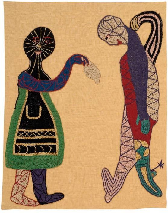 La cueca.  1962.  119,5 x 94,5cm  Lino y bordados en lanigrafía.  Fundación Violeta Parra