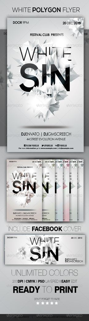 PSD  White Polygon Flyer  Template • Click here to download ! http://graphicriver.net/item/white-polygon-flyer/6034724?ref=pxcr