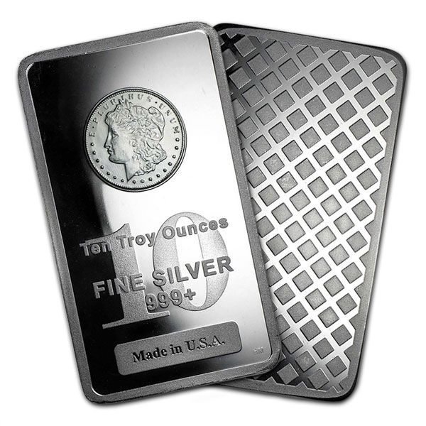 Morgan Design Silver Bar 10 Ounce 999 Pure In 2020 Silver Bars Silver Bullion Pure Products
