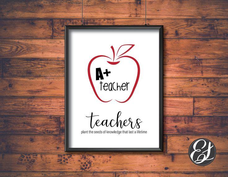 PRINTABLE Teachers Plant Seed Wall Hanging   Digital Download   Wall Art   Office Decor   School Decor   School Wall Hanging   Apple Decor by ElgraphicsCanada on Etsy