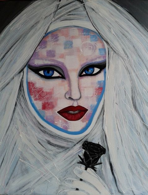 the virgin queen by STEFANO acrylic on cancas(50x60cm) NADJA AUERMANN Fashion Art 2015 acrylic,painting,portrait,painter,fashion,supermodel,face,fashion art,art