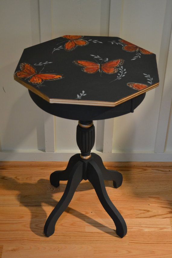 Vintage Hand Painted Black Butterfly Small Side By