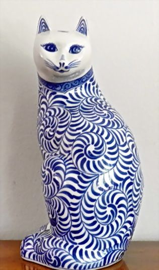 Урожай Фигурка Кошка Скульптура синий белый фарфор Декор Feline Керамическая Азии Chinoiserie шикарный декор